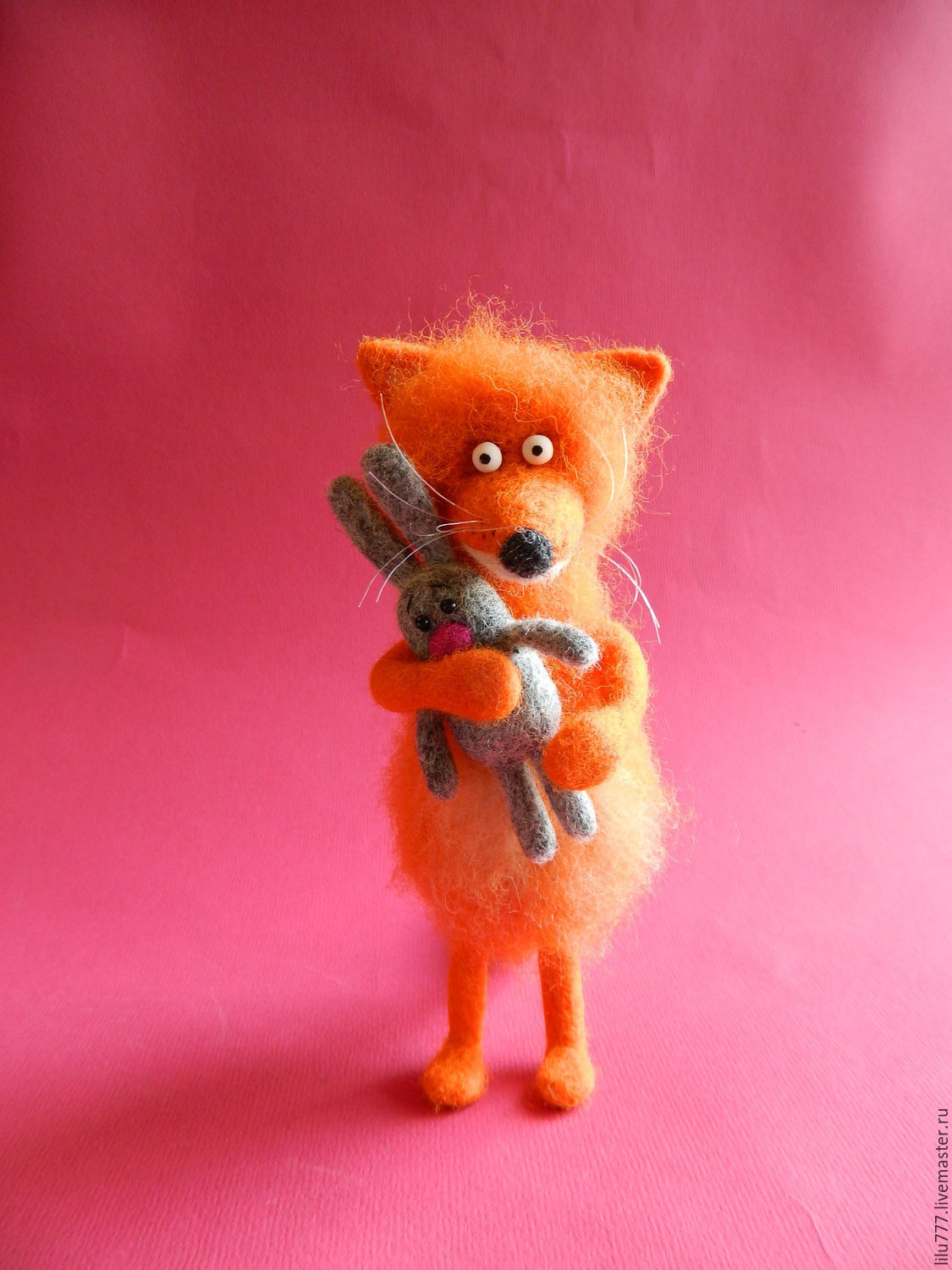 Fox cub with a rabbit felted Fox foxes rabbit hare, Felted Toy, Ufa,  Фото №1