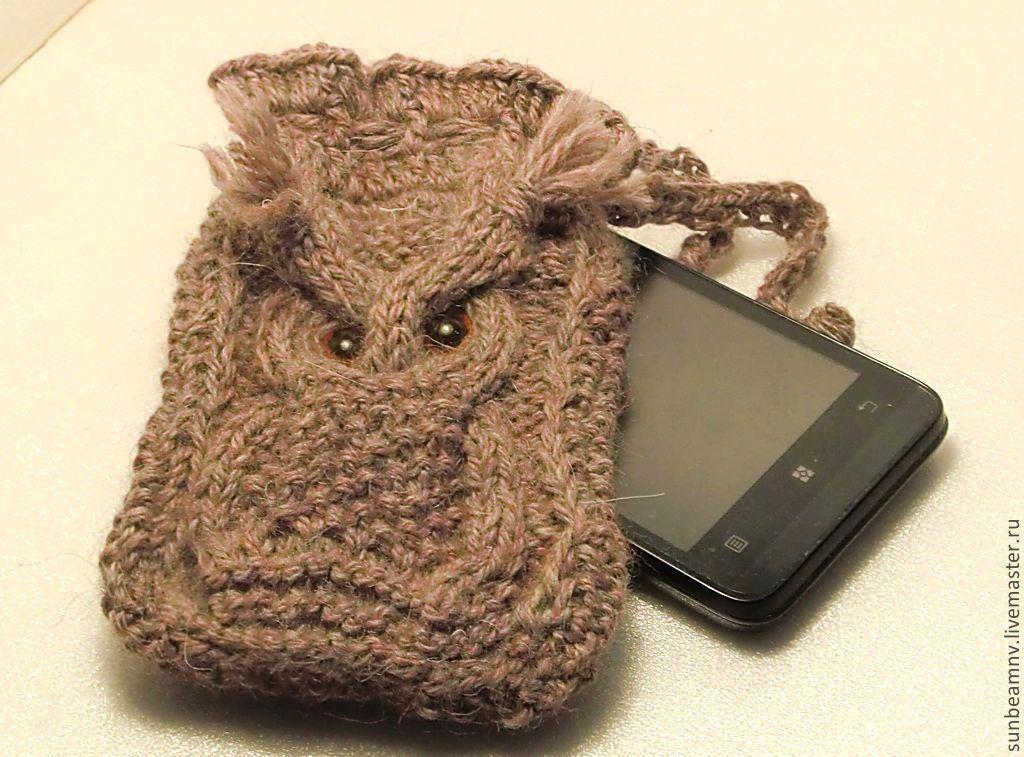 вязаный чехол для телефона совушка купить в интернет магазине на