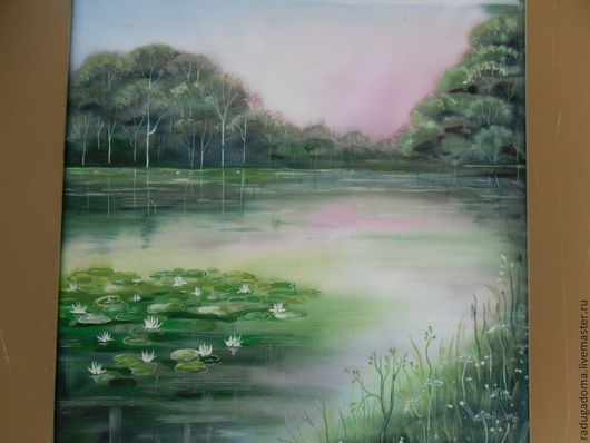 Пейзаж ручной работы. Ярмарка Мастеров - ручная работа. Купить Картина, пейзаж, акварель. Лилии в пруду.. Handmade. Зеленый, лилии