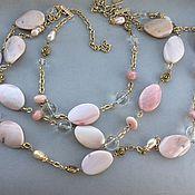 Украшения handmade. Livemaster - original item TUBEROSE necklace of pink opal, pearls and rhinestone. Handmade.