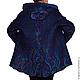 Верхняя одежда ручной работы. Ярмарка Мастеров - ручная работа. Купить Пальто валяное с капюшоном тёмно-синее. Handmade.