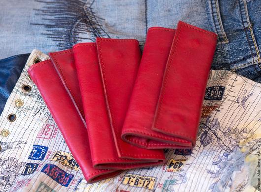 Футляры, очечники ручной работы. Ярмарка Мастеров - ручная работа. Купить Кожаный кисет для табака красный. Handmade. Кисет, Саймон