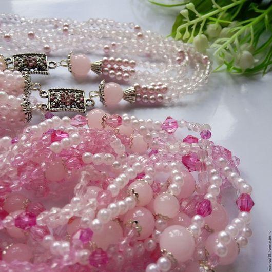 """Колье, бусы ручной работы. Ярмарка Мастеров - ручная работа. Купить Бусы """"Розовая вуаль"""". Handmade. Розовый, украшение на шею"""