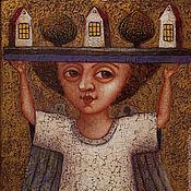 """Подарки к праздникам ручной работы. Ярмарка Мастеров - ручная работа """"Ангел создающий домашний уют"""", авторская печать. Handmade."""
