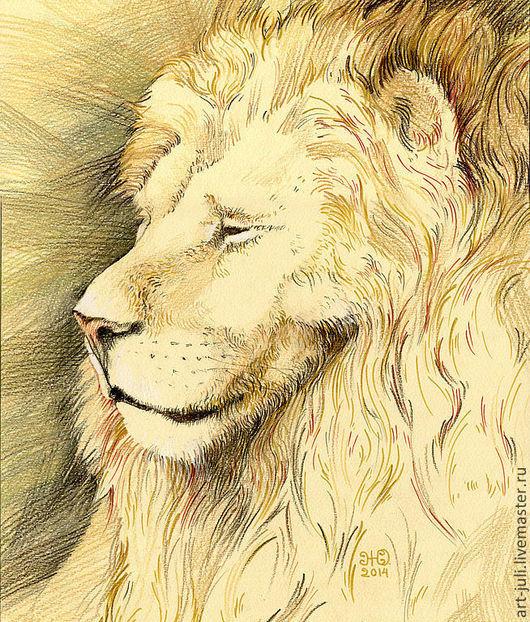"""Животные ручной работы. Ярмарка Мастеров - ручная работа. Купить рисунок льва """"почти в профиль"""". Handmade. Львиный, рисунок лев"""