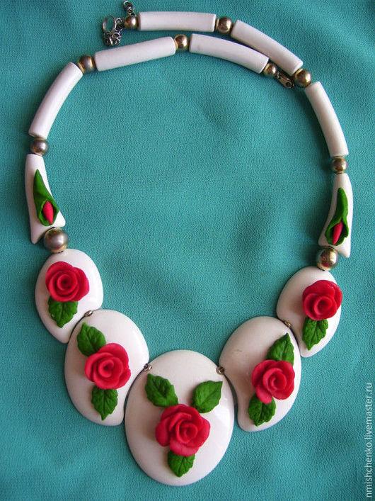 """Колье, бусы ручной работы. Ярмарка Мастеров - ручная работа. Купить Колье """"Розы на зефире"""". Handmade. Комбинированный, свадебное украшение"""