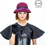 """Шляпы ручной работы. Ярмарка Мастеров - ручная работа Фетровая шляпа """"Колокол"""" - шляпка с полями женская с мехом. Handmade."""