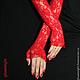 Варежки, митенки, перчатки ручной работы. Ярмарка Мастеров - ручная работа. Купить Длинные красные перчатки. Handmade. Ярко-красный