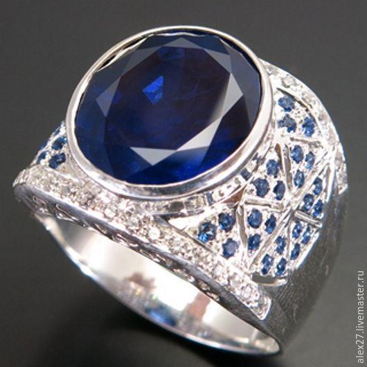 Кольцо сапфир (9,65 ct), сапфир, р.19,8 серебро 925