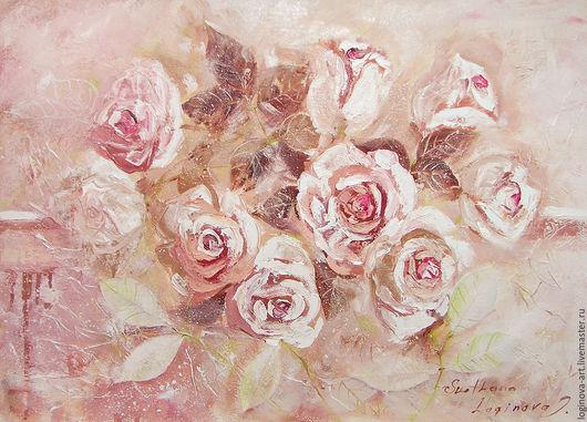 Картины цветов ручной работы. Ярмарка Мастеров - ручная работа. Купить Крем-розы. Handmade. Кремовый, темно-вишневый