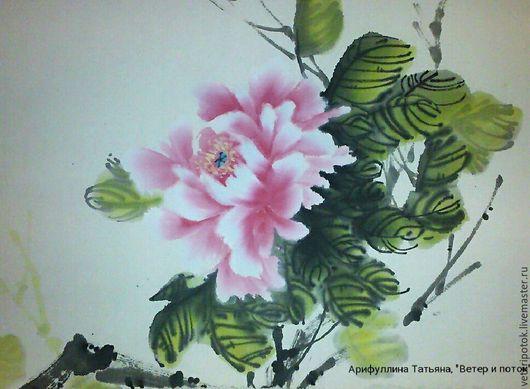 Картины цветов ручной работы. Ярмарка Мастеров - ручная работа. Купить картина на рисовой бумаге Пион - цветок императора. Handmade.