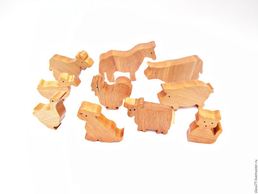 Развивающие игрушки ручной работы. Ярмарка Мастеров - ручная работа. Купить Набор домашних животных из дерева. Handmade. Бежевый