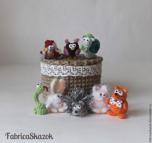 Игрушки животные, ручной работы. Ярмарка Мастеров - ручная работа. Купить Игровой набор вязаных миниатюр Зоопарк. Игрушка для ребенка животные. Handmade.