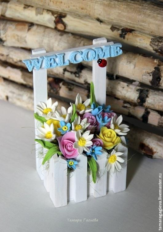 Цветы ручной работы. Ярмарка Мастеров - ручная работа. Купить Добро пожаловать! Заборчик с цветами. Handmade. Лимонный, забор