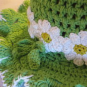 Работы для детей, handmade. Livemaster - original item SKIRT and a PANAMA hat for baby girl up to 1 year knitted set. Handmade.