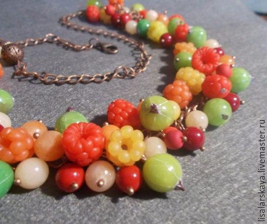 Колье, бусы ручной работы. Ярмарка Мастеров - ручная работа. Купить Ягодное ожерелье из полимерной глины. Handmade. Оранжевый, крыжовник