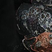 Украшения handmade. Livemaster - original item necklace owl. Copper, silver, mother of pearl, pearls, silk, lace. Handmade.