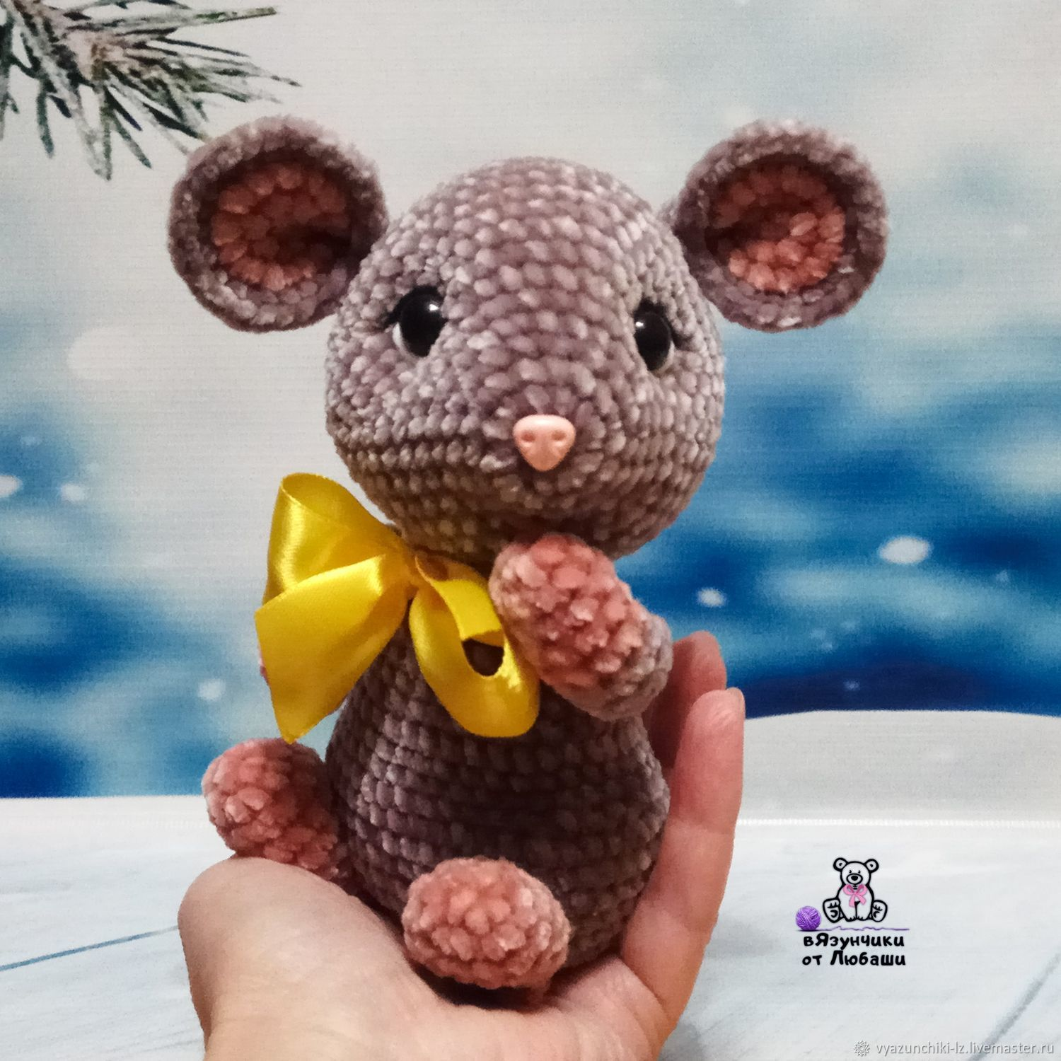 Toy Mouse knitted from plush yarn mouse toy symbol of the year, Stuffed Toys, Volokolamsk,  Фото №1