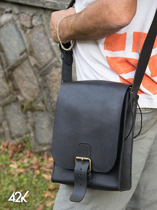 Мужские сумки ручной работы. Ярмарка Мастеров - ручная работа. Купить Сумка City черная кожаная. Handmade. Черный