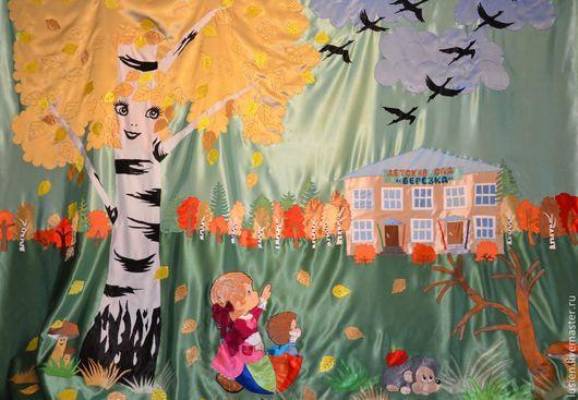 """Текстиль, ковры ручной работы. Ярмарка Мастеров - ручная работа. Купить """"Осень"""" Штора для детского сада. Handmade. Штора, птицы"""