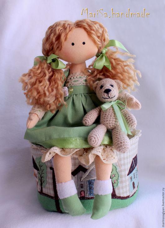 Коллекционные куклы ручной работы. Ярмарка Мастеров - ручная работа. Купить Кукла Сонечка с мишкой. Handmade. Текстильная кукла, Рыжая