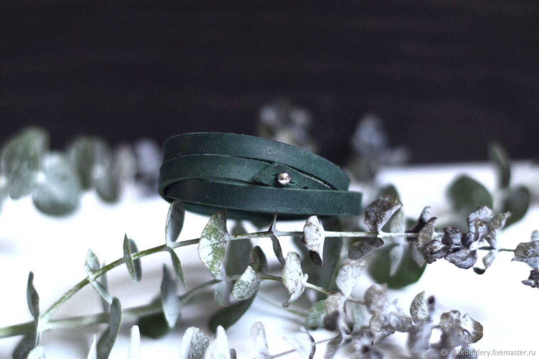 Pulsera de cuero devanado en tres vueltas con el ajuste de la longitud de, Bead bracelet, Moscow,  Фото №1