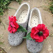 """Обувь ручной работы. Ярмарка Мастеров - ручная работа Тапочки валяные """"Маки"""". Handmade."""