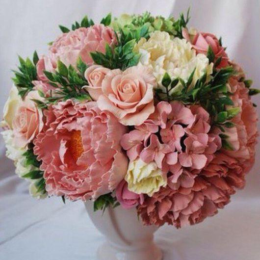 Интерьерные композиции ручной работы. Ярмарка Мастеров - ручная работа. Купить Интерьерный букет из пионов, роз и гортензии. Handmade. Кремовый