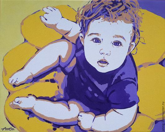 Люди, ручной работы. Ярмарка Мастеров - ручная работа. Купить Портрет ребенка на заказ по фото в стиле поп арт, яркий, современный. Handmade.