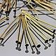 Пины длиной 50 мм с шляпкой гвоздик из сплава железа и покрытием бронза для сборки украшений на вес по 50 грамм - около 250 штук