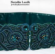 Аксессуары ручной работы. Ярмарка Мастеров - ручная работа Пояс для вечернего платья изумрудный вышитый Emerald Queen. Handmade.