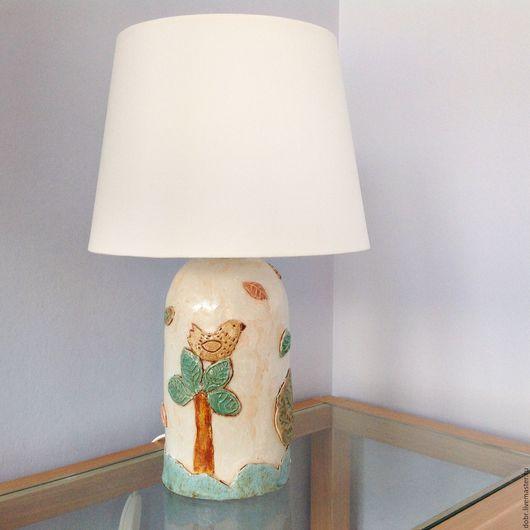 """Освещение ручной работы. Ярмарка Мастеров - ручная работа. Купить Лампа настольная. Коллекция""""Листья  закружат"""". Handmade. Комбинированный, бежевый, птица"""