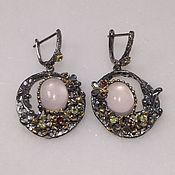 Украшения handmade. Livemaster - original item Silver earrings with rose quartz. Handmade.