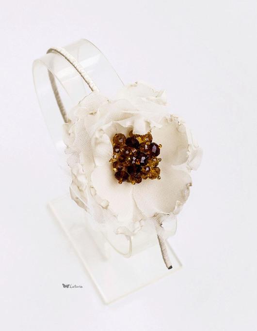 Диадемы, обручи ручной работы. Ярмарка Мастеров - ручная работа. Купить Ободок с цветком в винтажном стиле. Handmade. Бежевый