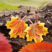 """Украшения ручной работы. Ярмарка Мастеров - ручная работа Серьги """"Кленовые листья — золото осени"""". Handmade."""
