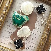 Украшения handmade. Livemaster - original item Stylish bracelet with green Agate and Quartz. Handmade.