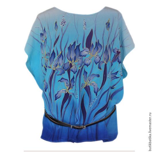 Топы ручной работы. Ярмарка Мастеров - ручная работа. Купить Топ шелковый Батик Ирисы. Handmade. Синий, блузка, цветы