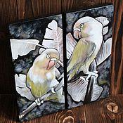 Панно ручной работы. Ярмарка Мастеров - ручная работа Панно: попугаи. Handmade.