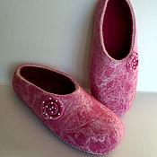 Обувь ручной работы. Ярмарка Мастеров - ручная работа тапочки валяные Розовые. Handmade.