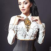 Одежда ручной работы. Ярмарка Мастеров - ручная работа Корсет-пояс «Респект» повседневный из серой костюмной ткани. Handmade.