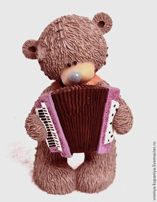 """Другие виды рукоделия ручной работы. Ярмарка Мастеров - ручная работа. Купить Силиконовая форма для мыла """"Тедди с аккордеоном"""". Handmade."""