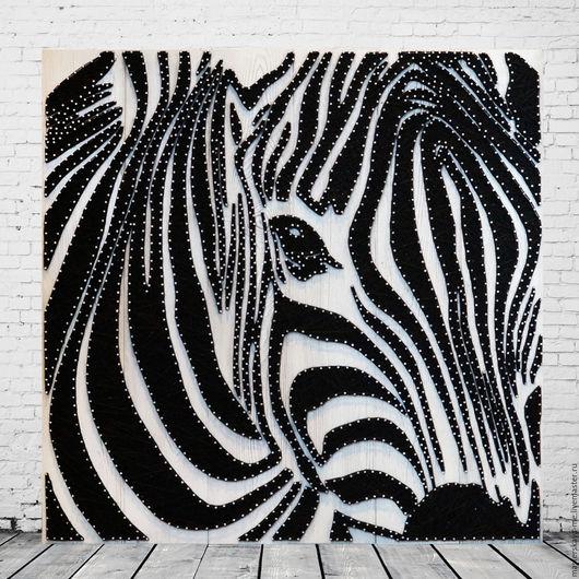 Картина из гвоздей и нитей в технике string art   Зебра Размер 100х100 см #stringart  #подарок  #дизайинтерьера