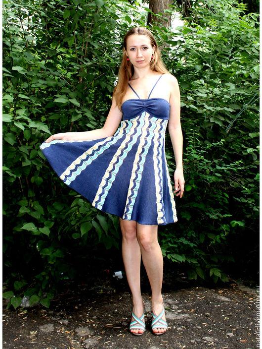 Платья ручной работы. Ярмарка Мастеров - ручная работа. Купить Сарафан синий с бирюзой. Handmade. Авторское платье, синий цвет