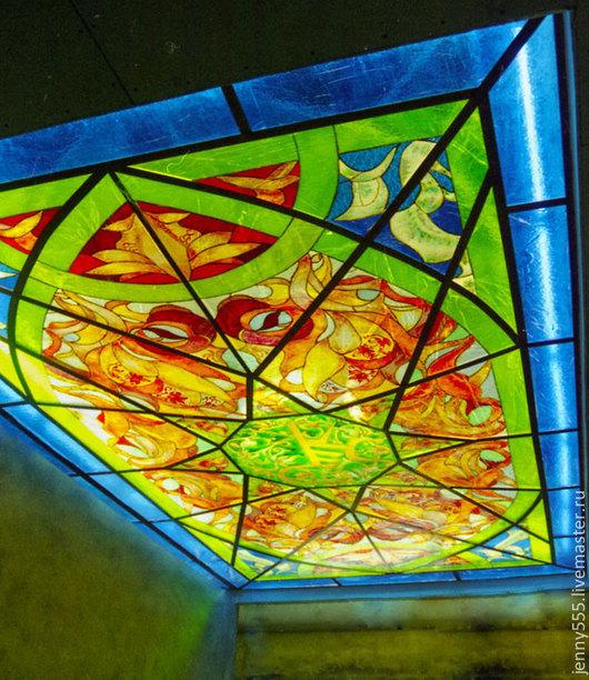 Элементы интерьера ручной работы. Ярмарка Мастеров - ручная работа. Купить Подвесной витражный потолок-узоры востока. Handmade. Разноцветный