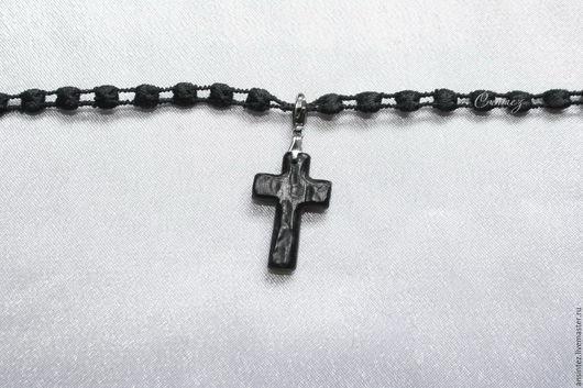 браслет вышитый Магия со съемным крестом из индийского палисандра унисекс
