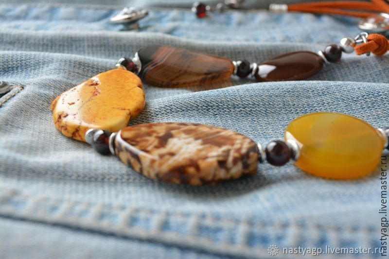 Necklace on a string of agate BRIGHT DAY, Pendants, Moscow,  Фото №1