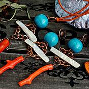 Украшения handmade. Livemaster - original item Large boho pendant and large earrings with coral