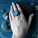 Как смотрится на руке кольцо из полимерной глины `Танец волн`, автор - Алина Логинова (украшения `Брусника`).