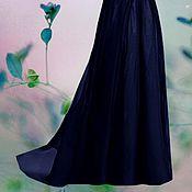 """Одежда ручной работы. Ярмарка Мастеров - ручная работа Темно синяя юбка в пол шифоновая """"Ночка"""". Handmade."""