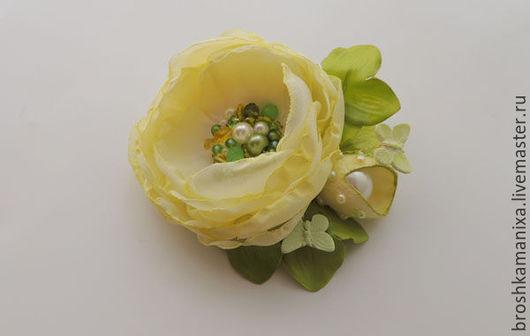 """Броши ручной работы. Ярмарка Мастеров - ручная работа. Купить Брошь """"Весенний сад"""". Handmade. Салатовый, брошь в форме цветка"""